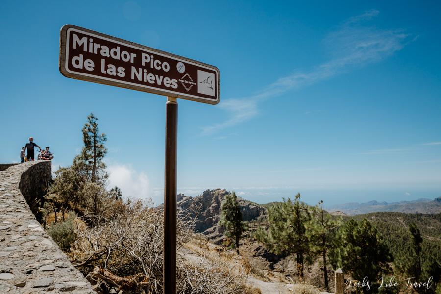 Mirador Pico de Las Nieves - tabliczka