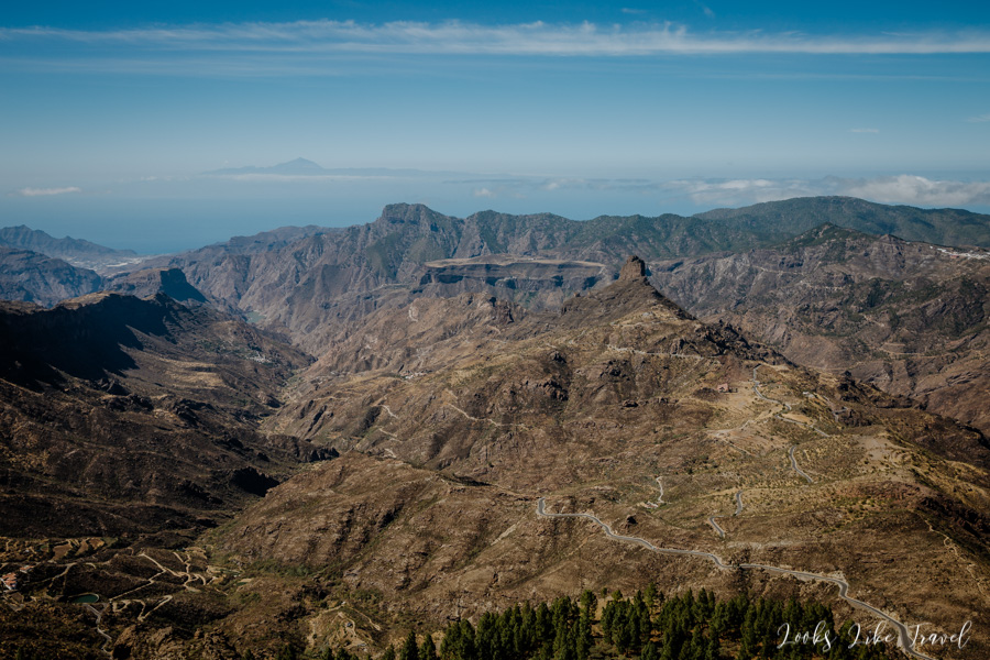 Roque Bentayga and Tenerife on horizon