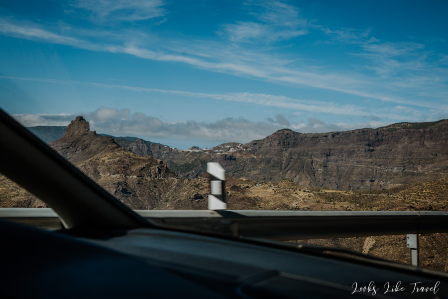 view from the car on Roque Bentayga