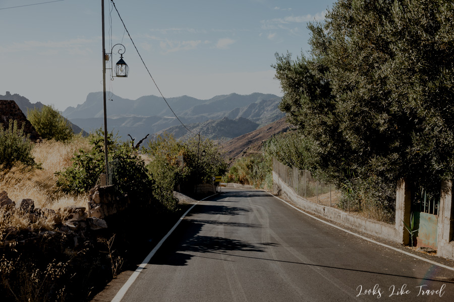 the road leading to Tejeda