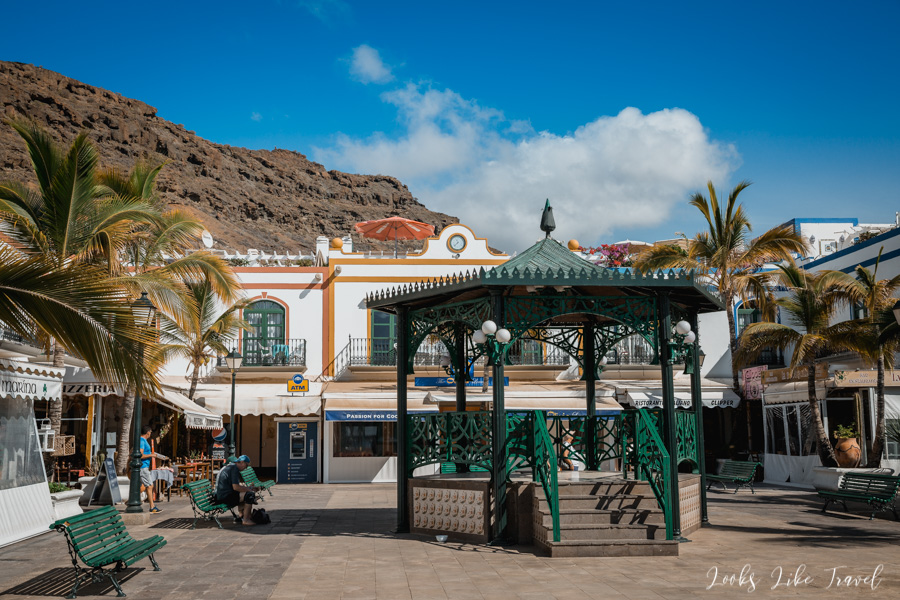 a small square with a gazebo, Puerto de Mogán