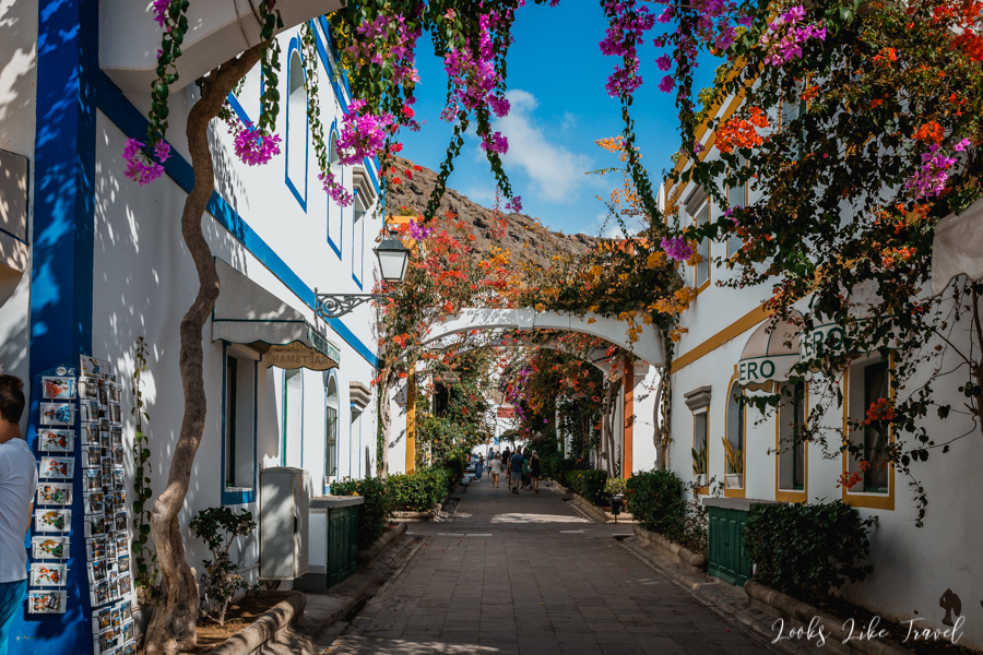 flowered streets in Puerto de Mogan, Gran Canaria
