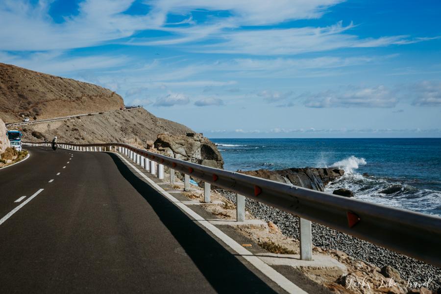 widok na ocean z drogi GC-500, Gran Canaria