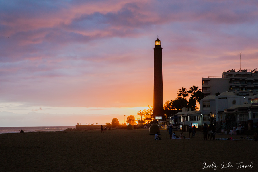 Faro de Maspalomas at sunset