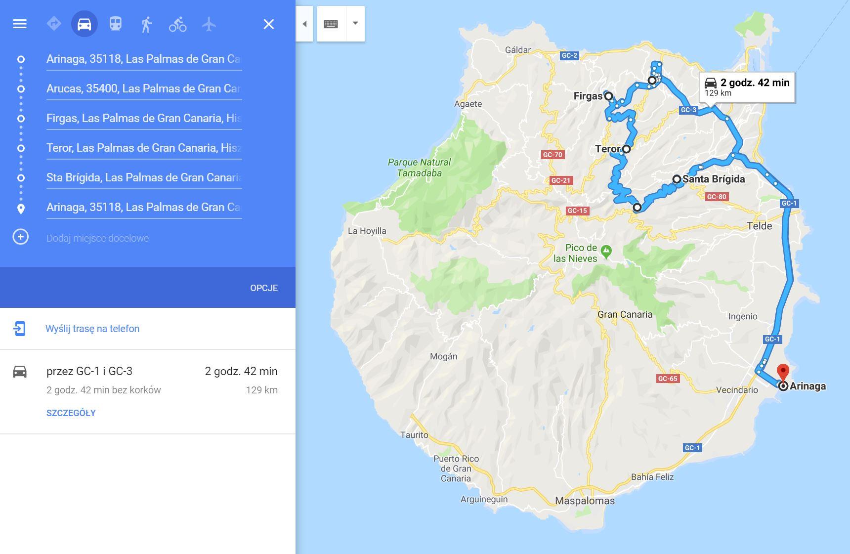 Gran Canaria mapa przejazdu dzień trzeci
