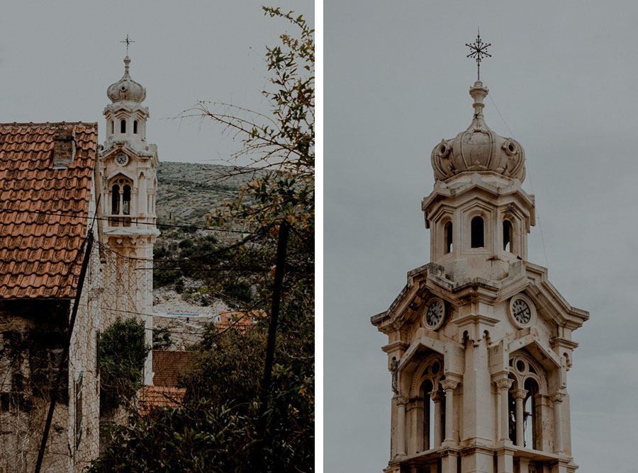 beautiful church tower in Ložišća