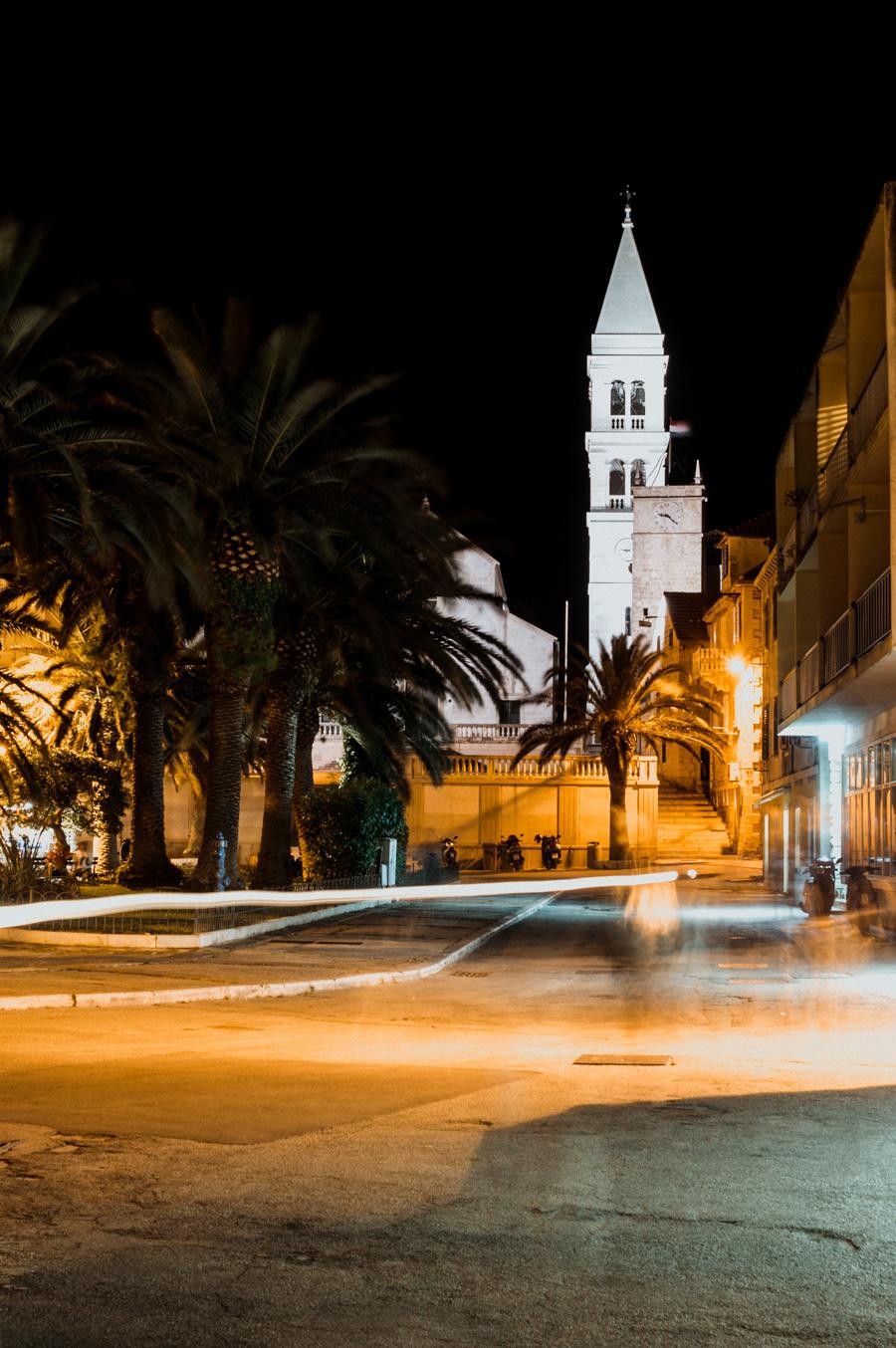 church in Supetar at night