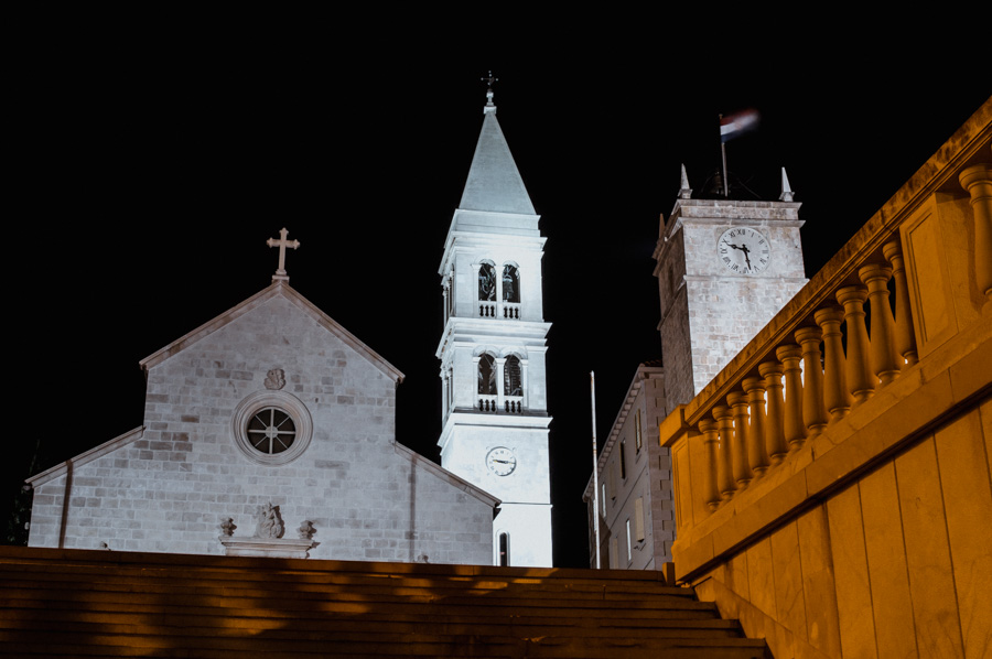 church in Supetar by night
