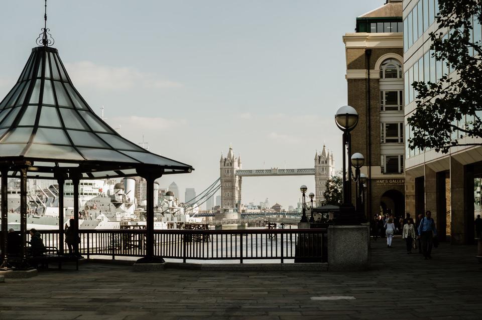 London, Tower Bridge surroundings, fountain