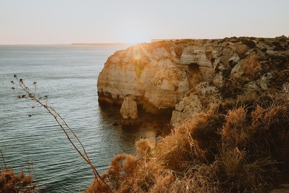 Lagos, sunset on cliffs