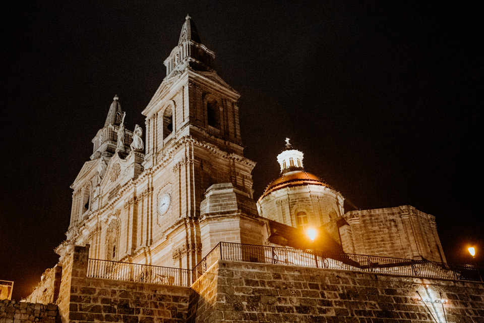 Malta, Mellieha at night