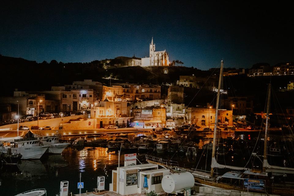 Gozo, port in Mgarr at night