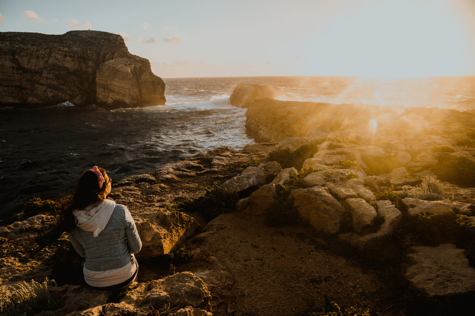 Gozo, sunset near Dwejra Bay