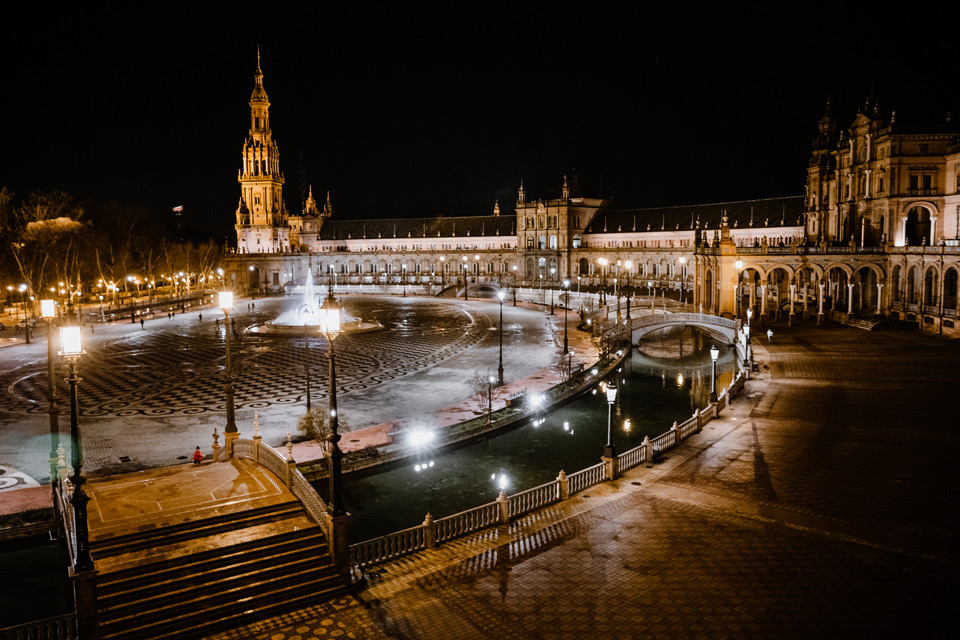 Seville, Spanish Square in the evening