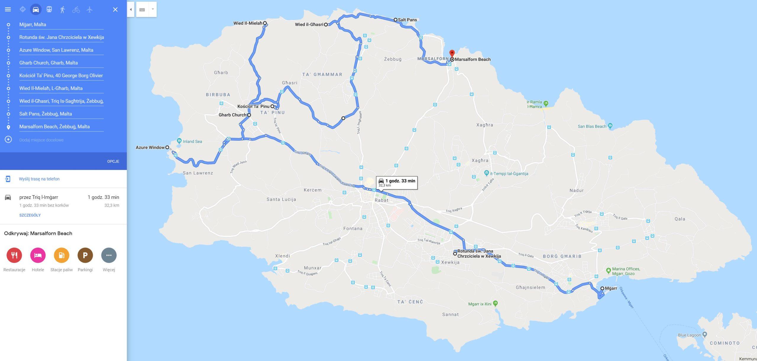 Gozo, trasa przejazdu 1