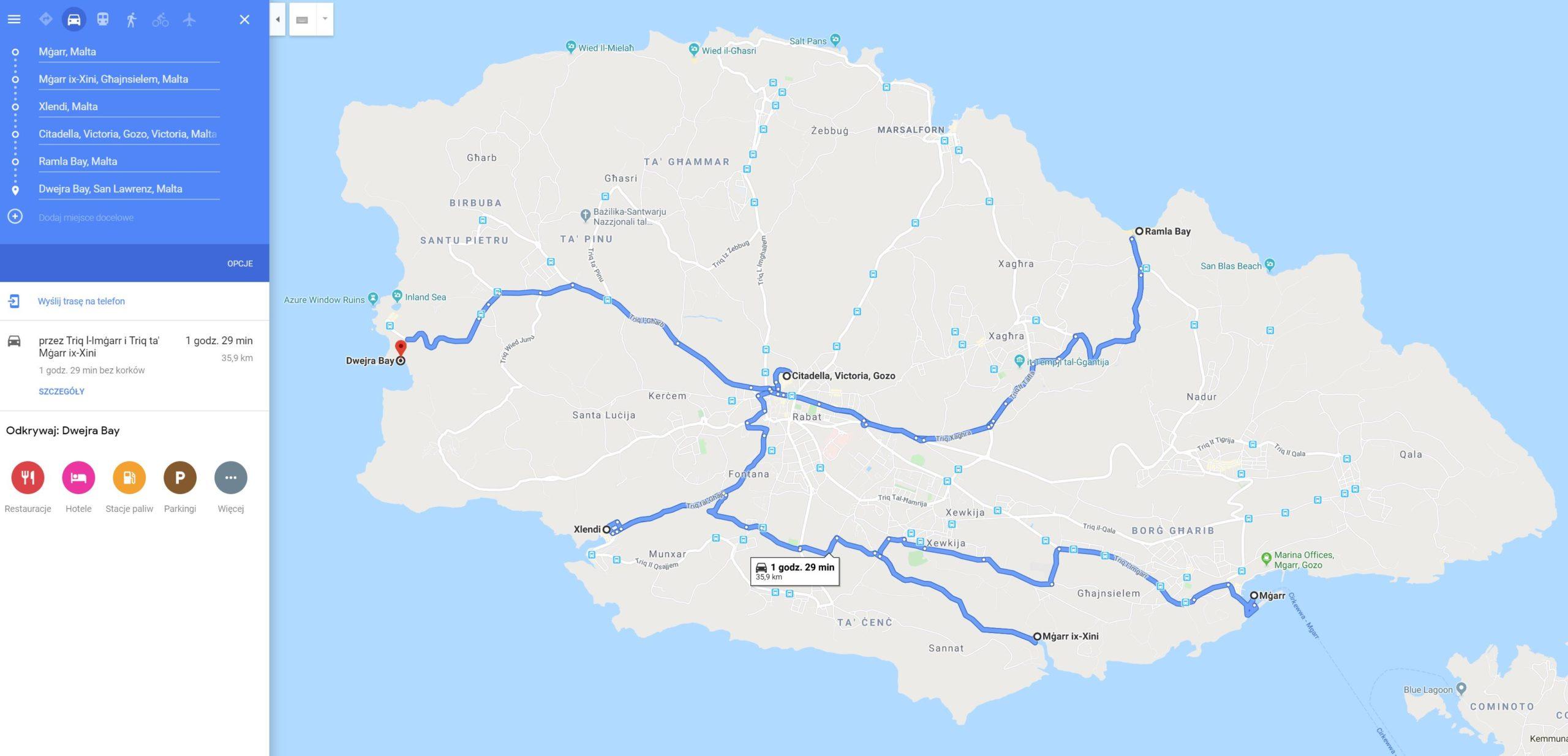 Gozo, trasa przejazdu 2