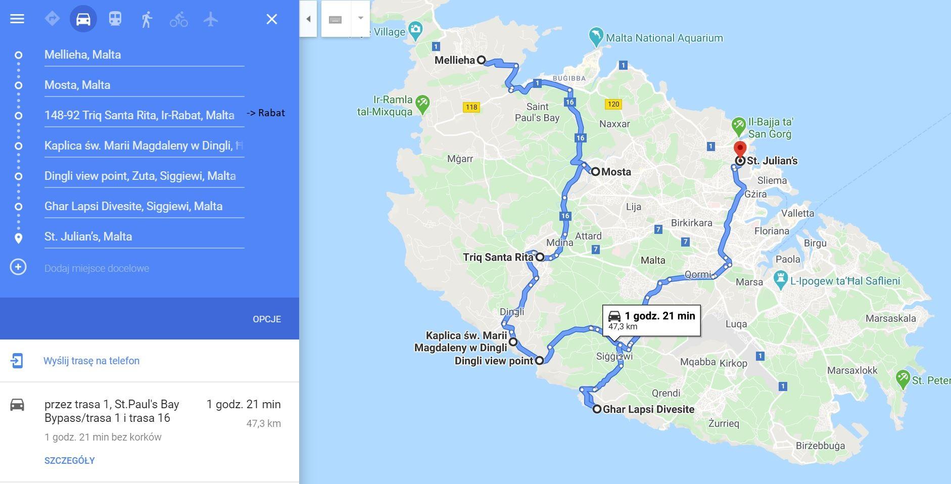 Malta, route 1