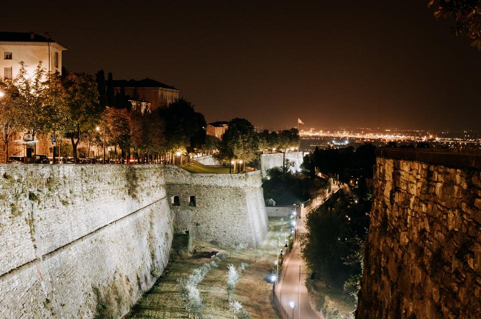 Bergamo, city at night